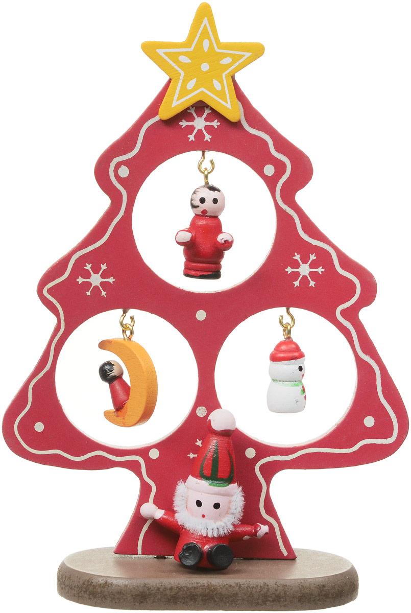 """Украшение новогоднее Sima-land """"Ель на подставке"""", цвет: красный, высота 15 см"""