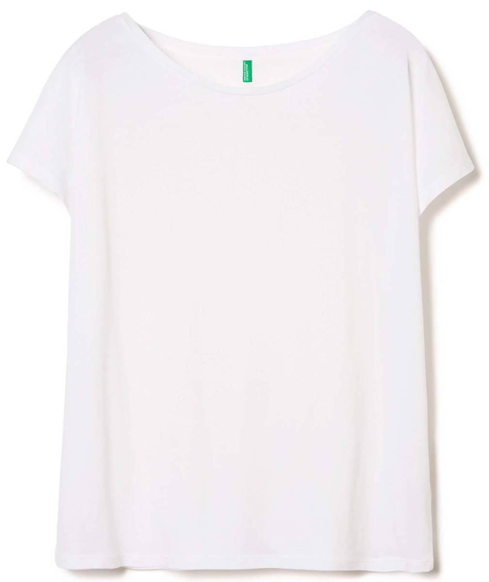 Футболка женская United Colors of Benetton, цвет: белый. 3I97E1L68_101. Размер M (44/46)3I97E1L68_101Футболка женская United Colors of Benetton выполнена из натурального хлопка. Модель с круглым вырезом горловины и длинными рукавами.