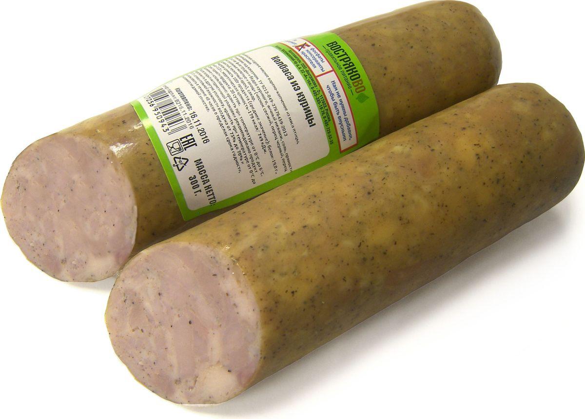 Востряково Колбаса из курицы, варено-копченая, 300 г482Колбаса варено-копченая из курицы – диетический продукт, не содержит нитрита натрия (Е 250), который используют для придания колбасе привычного розового цвета.