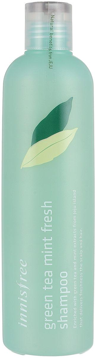 Innisfree Освежающий шампунь с зеленым чаем и мятой, 300 мл540709Шампунь для тусклых и склонных к жирности волос. Регулирует выработку кожного жира, эффективно очищает кожу головы, освежает. Входящий экстракт мяты препятствует образованию перхоти, дарит чувство прохлады и стимулирет активный рост волос. Экстакт зеленого чая насыщает минералами, дарит блеск и склеивает чешуйки. Содержит масло лимона, масло листьев розмарина, масло подсолнечника, масло мяты, экстракт кожуры мандарина, экстракт листьев камелии, экстракт орхидеии и опунции. Без ароматизаторов и искуственных красителей.