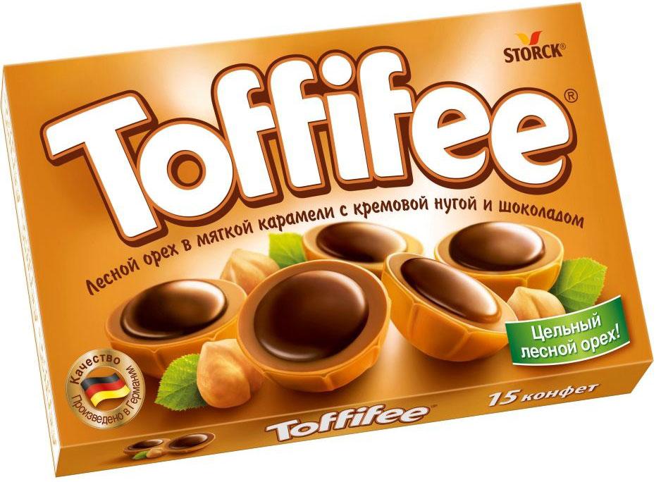 Toffifee конфеты орешки в карамели, 125 г медвеган конфеты глазированные арахис в мягкой карамели 345 г