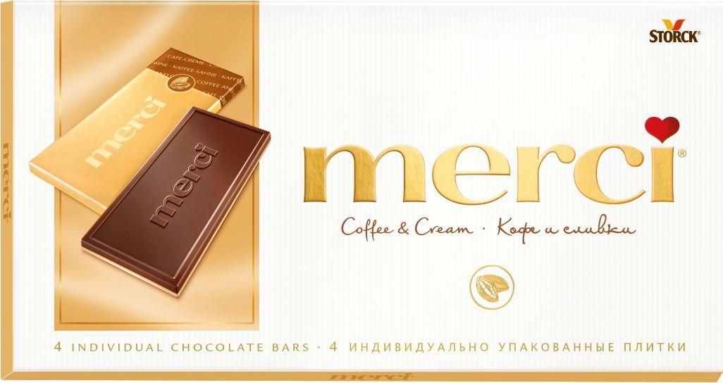 Merci кофе и сливки шоколад, 100 г волшебница золотой орех шоколад темный с миндалем 190 г