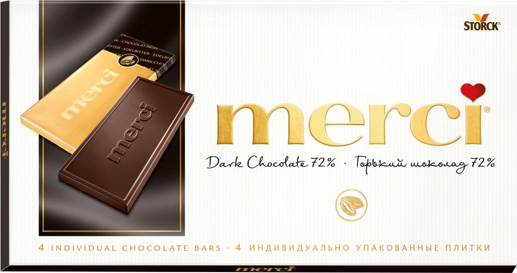 Merci горький шоколад 72%, 100 г волшебница золотой орех шоколад темный с миндалем 190 г