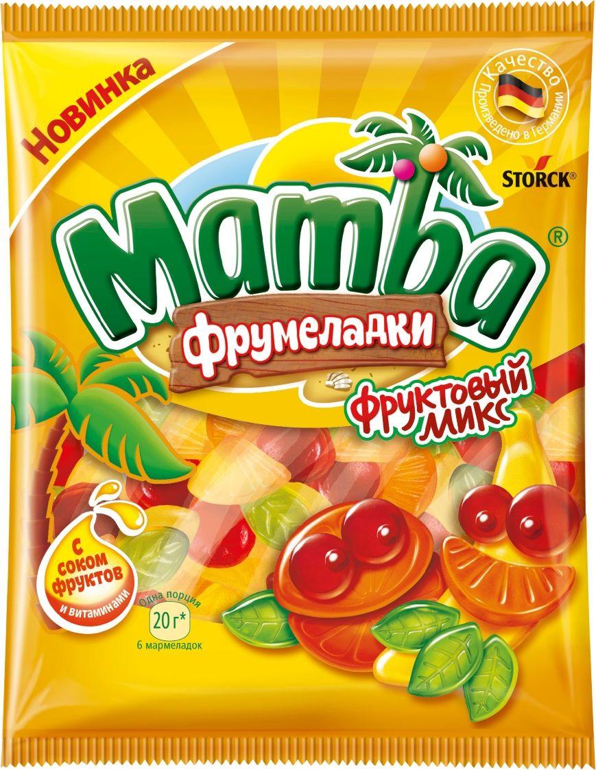 Mamba Фруктовый микс жевательный мармелад, 72 г116137-50Если ты любишь фруктовый жевательный мармелад, то тебе точно понравятся Mamba Фрумеладки! Это фруктовые мармеладки с соком фруктов и витаминами. Полет фантазии и безграничное веселье для тебя и твоих друзей. Насладись их отличным вкусом и получи заряд веселья и прекрасного настроения!А самое интересное - ты можешь с ними играть! Создай свой мир фруктовых героев Mamba, собирая мармеладки различных форм и превращая их в новых веселых персонажей.Супер Фантастик-Мамбастик!Фруктовый микс - жевательный мармелад с ассорти из фруктовых вкусов, обогащенный витаминами.