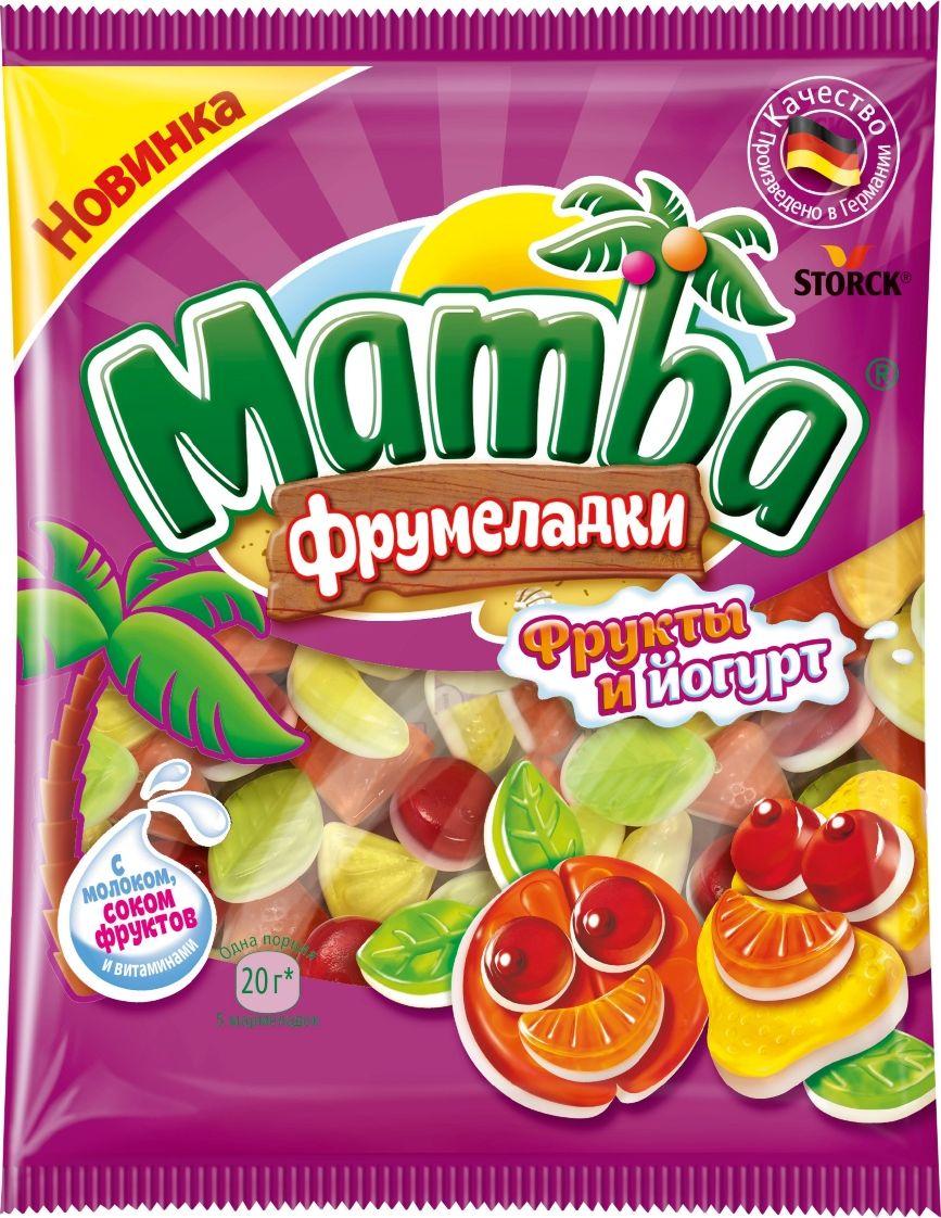 Mamba Фрукты йогурт жевательный мармелад, 72 г соки и напитки фрутоняня малышам нектар яблочно банановый неосветлённый с 6 мес 200 мл