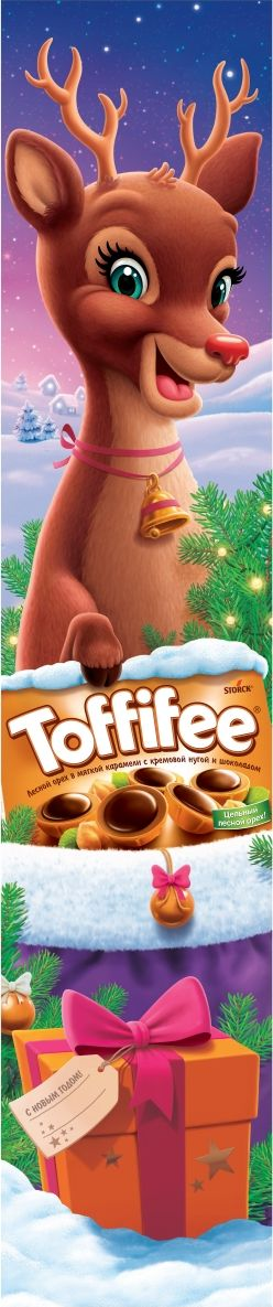 Toffifee Олень конфеты орешки в карамели, 375 г019049-58В 1973 году в Германии появляются первые конфеты Toffifee, которые стали и остаются уникальными во всем мире благодаря сочетанию вкуснейших компонентов. Сегодня конфеты Toffifee популярны в более чем 100 странах мира, ведь Toffifee объединили в себе все самое вкусное: отборный цельный лесной орех в чашечке из мягкой карамели, наполненной нежной кремовой нугой и покрытой восхитительным шоколадом.