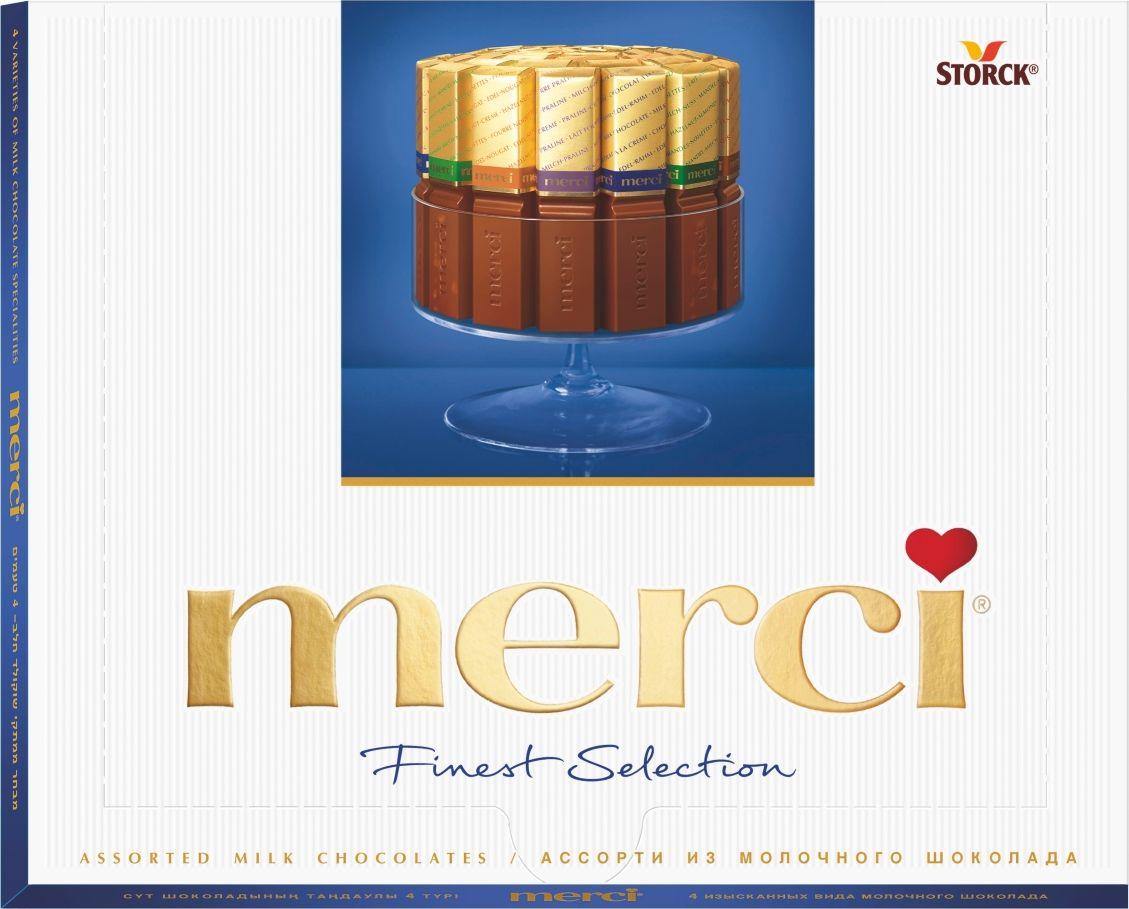 Merci Конфеты молочные Ассорти, 250 г015416Merci Finest Selection- это великолепное ассорти из уникальной коллекции изысканного шоколада, для производства которого используются ингредиенты высокого качества. Как еще выразить благодарность от всего сердца близкому вам человеку?
