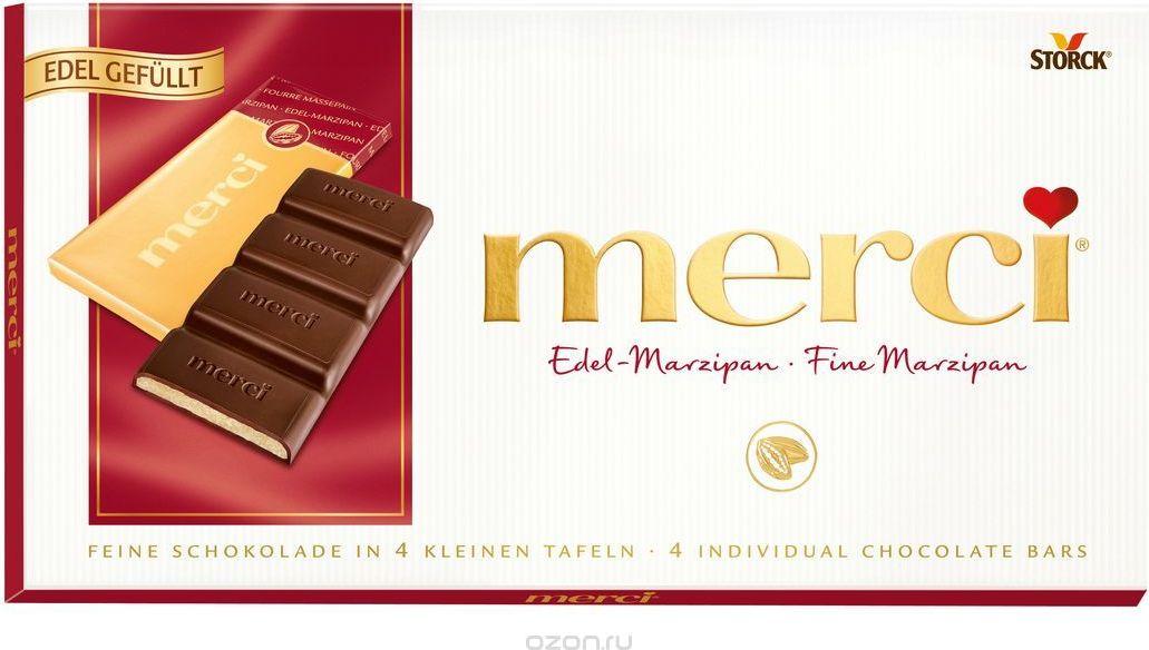 Merci Шоколад c марципаном, 112 г вижер пряники шоколадные 350 г