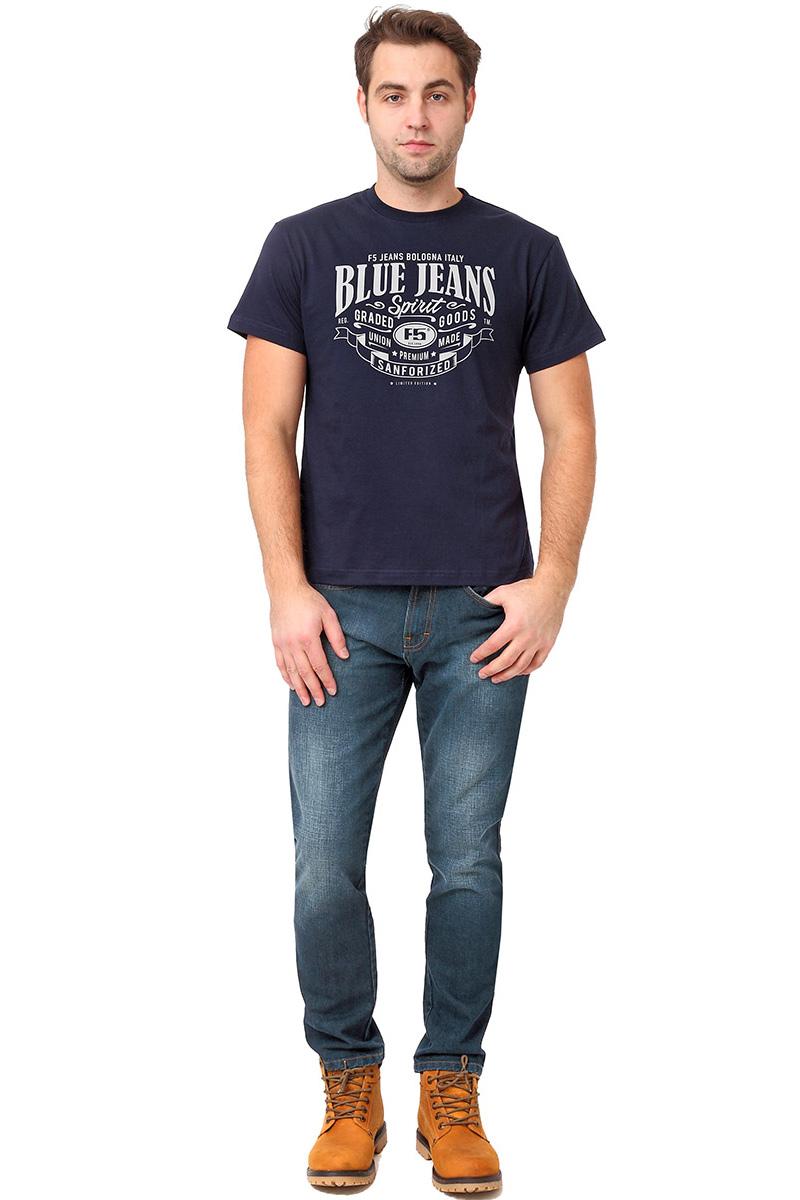 Футболка мужская F5 TR Plain Blue Jeans, цвет: синий. 270105. Размер L (50)270105_navyСтильная мужская футболка F5 выполнена из натурального хлопка. Футболка с коротким рукавом и небольшим круглым вырезом горловины оформлена принтовыми надписями.