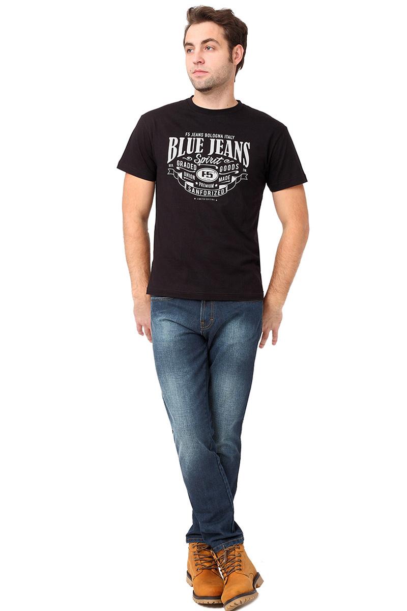 Футболка мужская F5 TR Plain Blue Jeans, цвет: черный. 270106. Размер M (48)270106_blackСтильная мужская футболка F5 выполнена из натурального хлопка. Футболка с коротким рукавом и круглым вырезом горловины оформлена текстовым принтом.