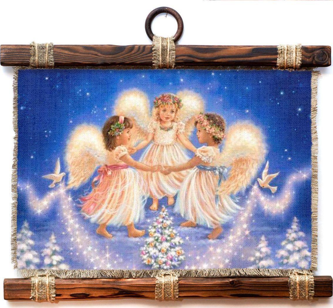 Украшение декоративное Универсальный cвиток 3 ангелочка , подвесное, А4004-4-Г-Р