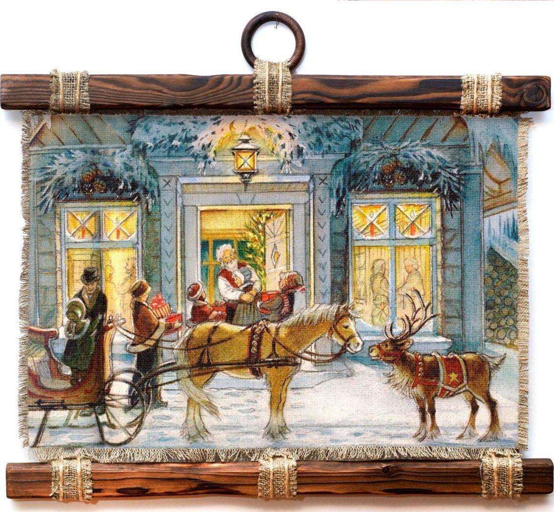 Украшение декоративное Универсальный cвиток Конь и олененок , подвесное, А4173-4-Г-Р