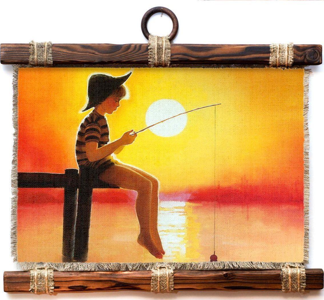Украшение декоративное Универсальный cвиток Мальчик-рыбачок, подвесное, А4435-4-Г-Р