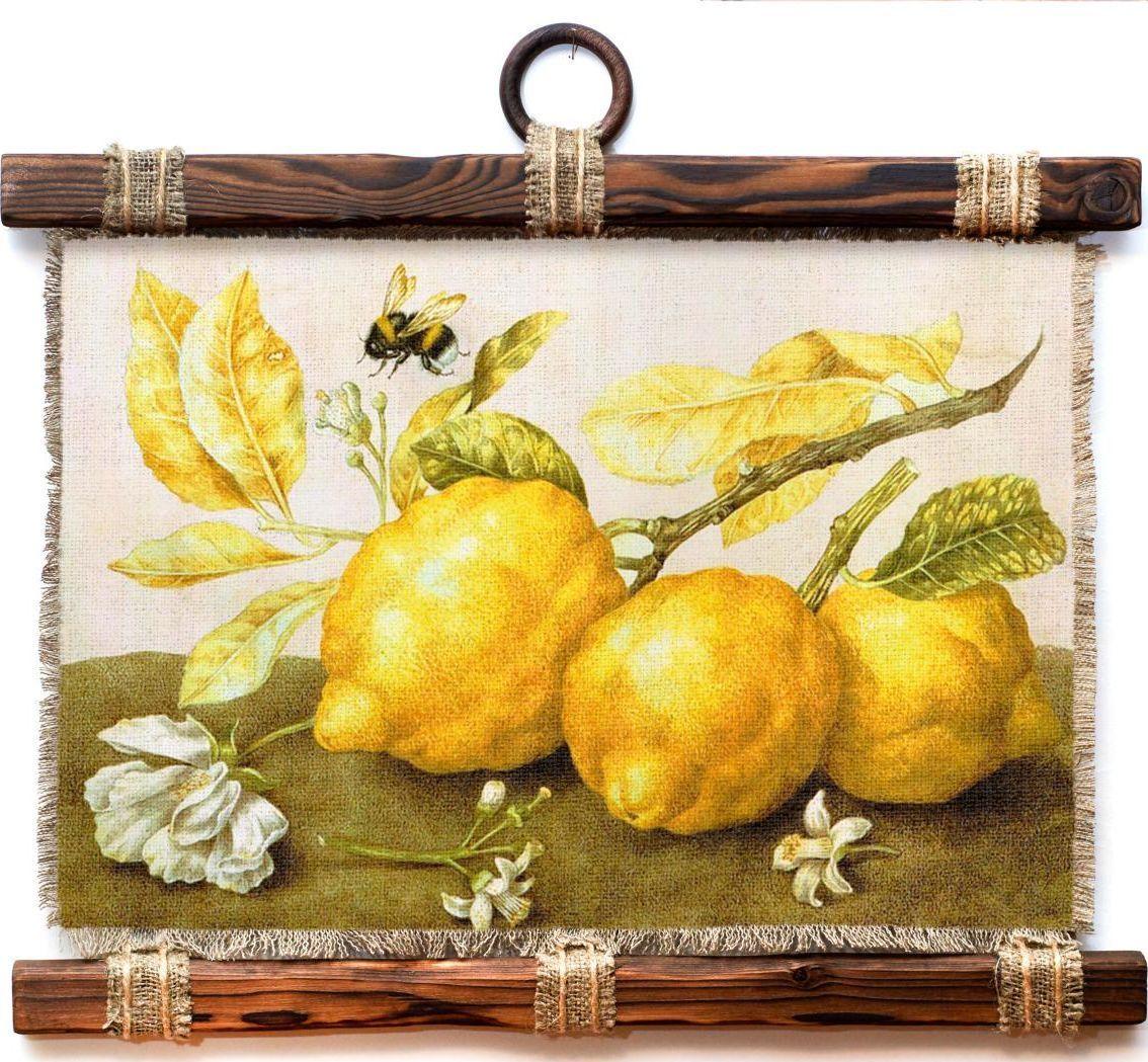 Украшение декоративное Универсальный cвиток Лимоны и шмель , подвесное, А4604-4-Г-Р