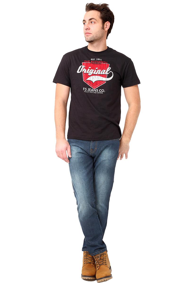 Футболка мужская F5 TR Plain Pocket, цвет: черный. 270108. Размер S (46)270108_blackСтильная мужская футболка F5 выполнена из натурального хлопка. Футболка с коротким рукавом и круглым вырезом оформлена принтом и надписями.