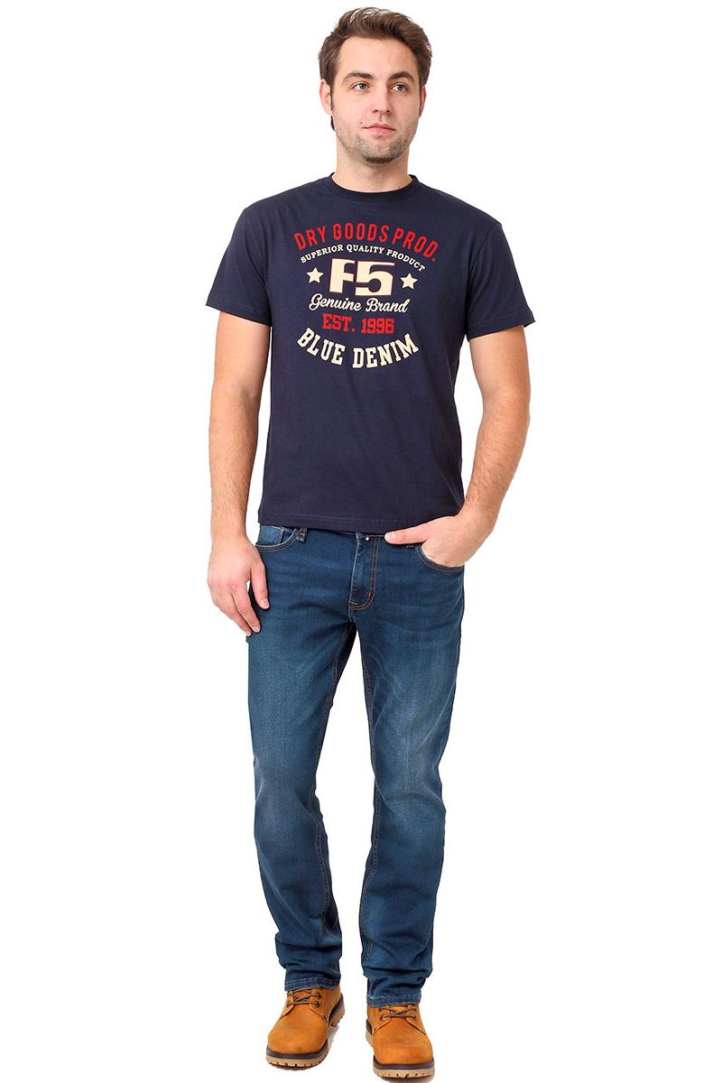 Футболка мужская F5 TR Plain Super, цвет: синий. 270111. Размер S (46)270111_navyСтильная мужская футболка F5 выполнена из натурального хлопка. Футболка с коротким рукавом и круглым вырезом горловины оформлена принтом.