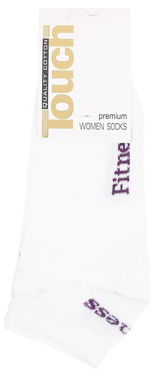 Носки женские Touch Gold, цвет: белый, фиолетовый. 900. Размер 23/25900Удобные женские носочки Touch Gold для занятий спортом. Укороченная модель. Носочки изготовлены из лучших сортов хлопка с добавлением эластановых волокон, которые обеспечивают повышенную износостойкость, превосходную посадку и позволяют вашим ножкам дышать, благодаря высокой доле содержания натуральных волокон.