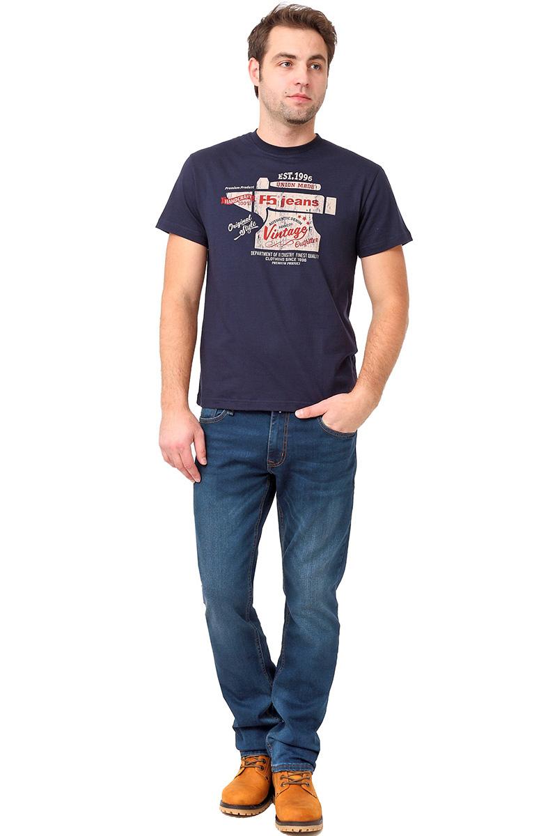 Футболка мужская F5 TR Plain Vintage, цвет: синий. 270109. Размер S (46)270109_navyСтильная мужская футболка F5 выполнена из натурального хлопка. Футболка с коротким рукавом и круглым вырезом горловины оформлена принтом.