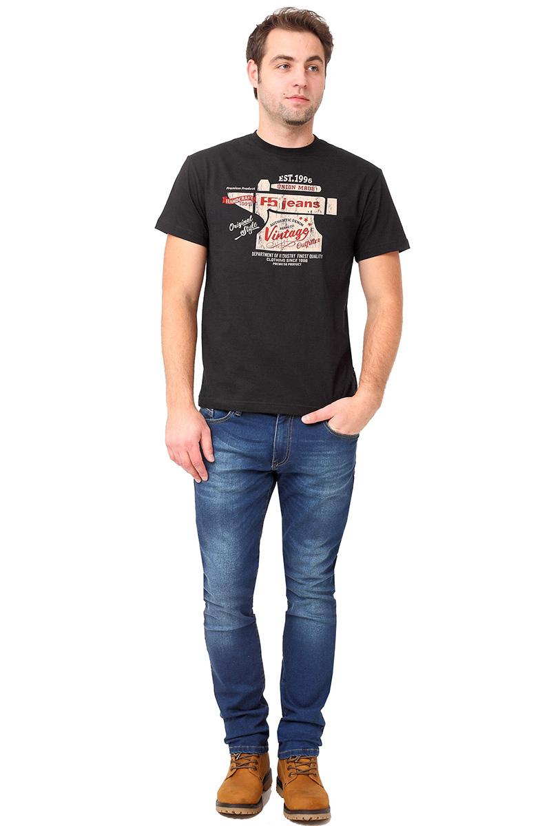 Футболка мужская F5 TR Plain Vintage, цвет: черный. 270110. Размер L (50)270110_blackСтильная мужская футболка F5 выполнена из натурального хлопка. Футболка с коротким рукавом и круглым вырезом горловины оформлена принтом.