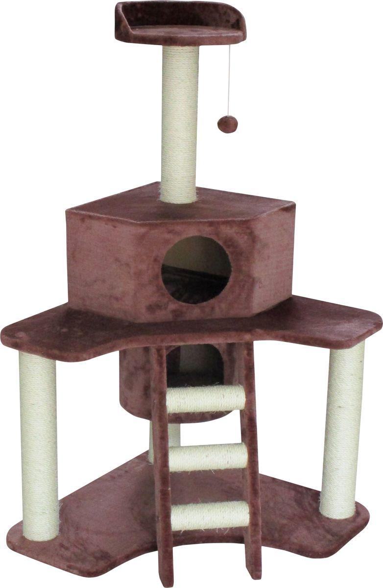 Домик-когтеточка  Aimigou , угловой, 3-ярусный, цвет: коричневый, белый - Когтеточки и игровые комплексы
