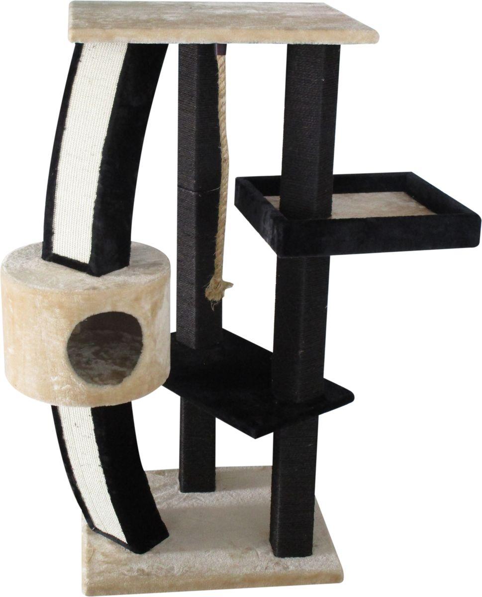 Когтеточка Aimigou, с домиком, цвет: молочный, черный. QQ80671AQQ80671AКогтеточка Aimigou поможет сохранить мебель и ковры в доме от когтей вашего любимца, стремящегося удовлетворить свою естественную потребность точить когти. Когтеточка изготовлена из ДСП, мягкой ворсовой ткани и сизаля. Товар продуман в мельчайших деталях и, несомненно, понравится вашей кошке. Когтеточка состоит столбов, среди которых закреплены полки и круглый домик. От верхней полки спускается длинный шнур, предназначенный для игр. Точить когти ваш питомец может о столбики с покрытием из сизаля. Всем кошкам необходимо стачивать когти. Когтеточка - один из самых необходимых аксессуаров для кошки. Для приучения к когтеточке можно натереть ее сухой валерьянкой или кошачьей мятой. Когтеточка поможет вашему любимцу стачивать когти и при этом не портить вашу мебель. Общая высота когтеточки: 126,5 см.