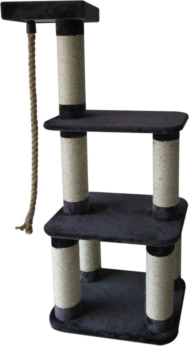 Когтеточка Aimigou, 3-ярусная, цвет: черный, светло-серый. QQ80789QQ80789Когтеточка Aimigou поможет сохранить мебель и ковры в доме от когтей вашего любимца, стремящегося удовлетворить свою естественную потребность точить когти. Когтеточка изготовлена из ДСП, мягкой ворсовой ткани и сизаля. Товар продуман в мельчайших деталях и, несомненно, понравится вашей кошке. Когтеточка состоит из столбов, на которых закреплены полочки разного размера. Под верхней полкой подвешен канат, который кошка может использовать как игрушку. Точить когти ваш питомец может о столбики с покрытием из сизаля. Всем кошкам необходимо стачивать когти. Когтеточка - один из самых необходимых аксессуаров для кошки. Для приучения к когтеточке можно натереть ее сухой валерьянкой или кошачьей мятой. Когтеточка поможет вашему любимцу стачивать когти и при этом не портить вашу мебель. Общая высота когтеточки: 148,5 см.
