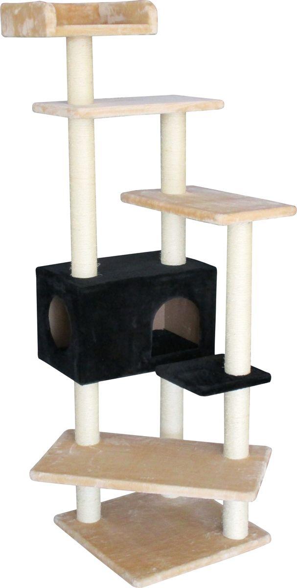 Когтеточка Aimigou, с домиком, цвет: молочный, черный, бежевый. QQ80806QQ80806Когтеточка Aimigou поможет сохранить мебель и ковры в доме от когтей вашего любимца, стремящегося удовлетворить свою естественную потребность точить когти. Когтеточка изготовлена из ДСП, мягкой ворсовой ткани и сизаля. Товар продуман в мельчайших деталях и, несомненно, понравится вашей кошке. Когтеточка состоит столбов, среди которых закреплены пять полочек и прямоугольный домик. Точить когти ваш питомец может о столбики с покрытием из сизаля. Всем кошкам необходимо стачивать когти. Когтеточка - один из самых необходимых аксессуаров для кошки. Для приучения к когтеточке можно натереть ее сухой валерьянкой или кошачьей мятой. Когтеточка поможет вашему любимцу стачивать когти и при этом не портить вашу мебель. Общая высота когтеточки: 160 см.