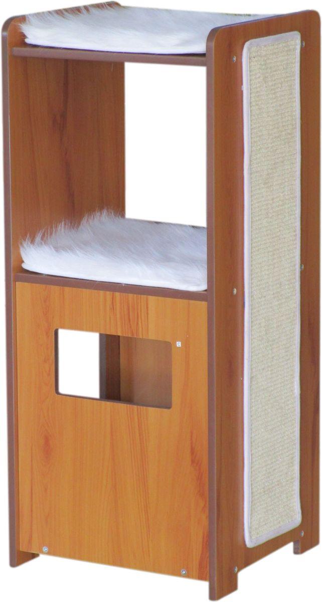 Домик-когтеточка Aimigou, цвет: коричневый, белый. QQ80852QQ80852Когтеточка Aimigou поможет сохранить мебель и ковры в доме от когтей вашего любимца, стремящегося удовлетворить свою естественную потребность точить когти. Когтеточка изготовлена из МДФ, искусственного меха и текстиля. Товар продуман в мельчайших деталях и, несомненно, понравится вашей кошке. Когтеточка выполнена в виде тумбы с полочками с мягкой подстилкой и когтеточкой сбоку. Всем кошкам необходимо стачивать когти. Когтеточка - один из самых необходимых аксессуаров для кошки. Для приучения к когтеточке можно натереть ее сухой валерьянкой или кошачьей мятой. Когтеточка поможет вашему любимцу стачивать когти и при этом не портить вашу мебель. Общая высота когтеточки: 105 см.