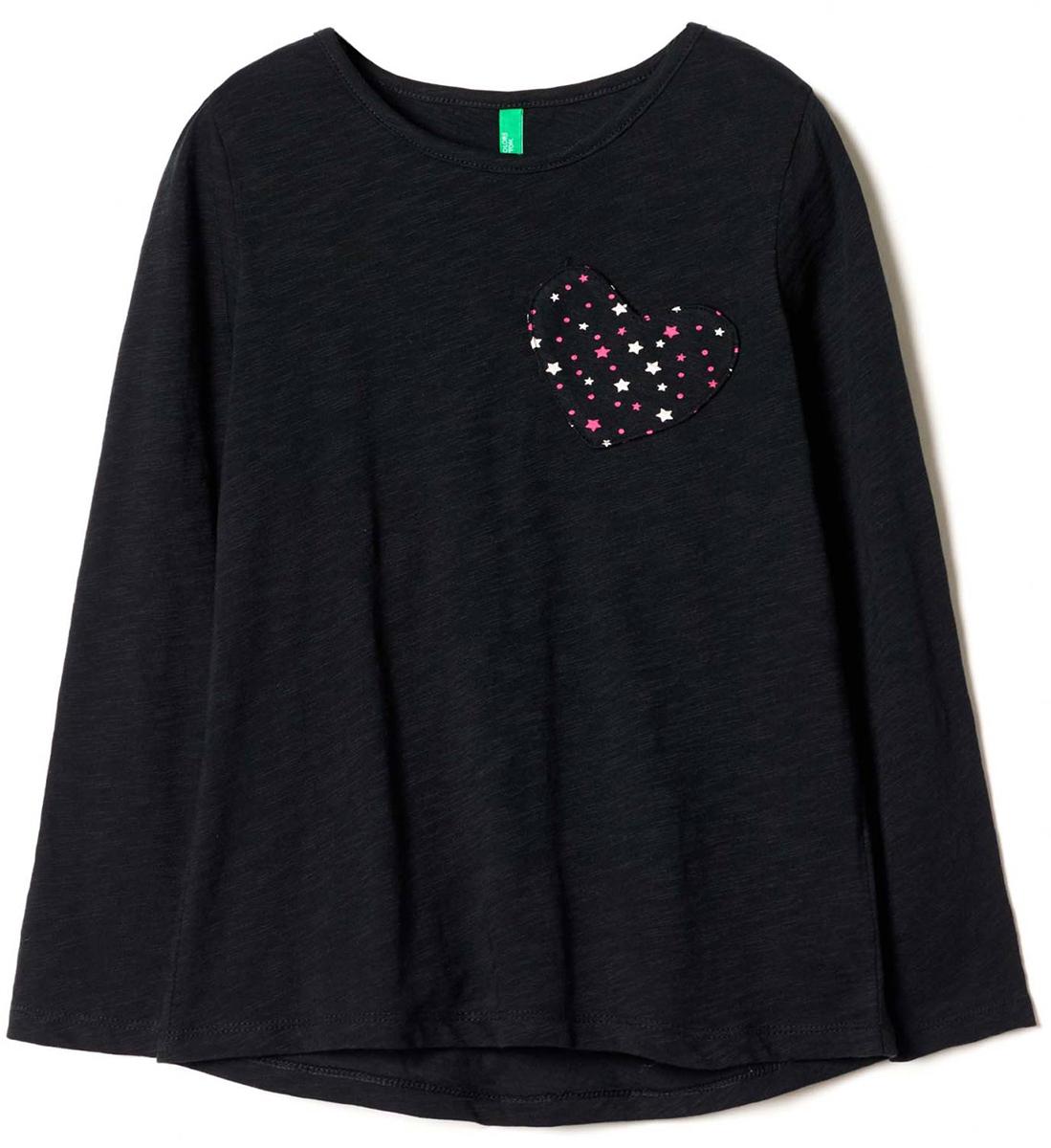 Майка для девочек United Colors of Benetton, цвет: черный. 3XF7C13B8_100. Размер 1303XF7C13B8_100