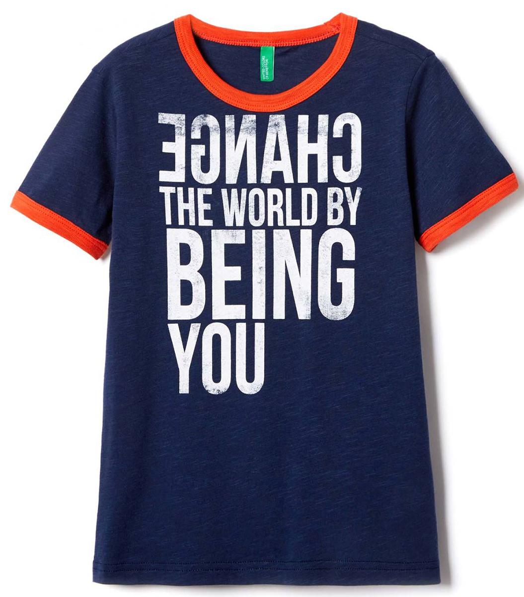 Футболка для мальчика United Colors of Benetton, цвет: синий. 3Z01C138T_13C. Размер 1303Z01C138T_13CФутболка для мальчика United Colors of Benetton выполнена из натурального хлопка. Модель с круглым вырезом горловины и короткими рукавами.