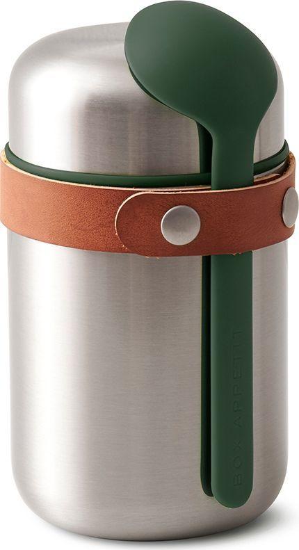 Термос для горячего Black+Blum Food Flask, цвет: оливковый, 400 млBAM-FF-S010Компактный ланч-бокс для горячего поместится в сумку или рюкзак и всегда порадует теплой и вкусной едой. Современный дизайн сочетается с хорошей функциональностью. Вакуумная колба сохраняет пищу горячей до 6 часов или холодной до 8 часов. Плотная крышка предотвращает вытекание жидкости, создает дополнительную изоляцию.Корпус ланч-бокса выполнен из нержавеющей стали, устойчивой к коррозии. Специально разработанная форма ложки позволяет доставать пищу с самого дна. Яркий цвет лайма поднимает настроение и улучшает аппетит. После использования ложку можно пристегнуть обратно к ланч-боку с помощью ремня, изготовленного из веганской кожи.Объем: 400 мл.