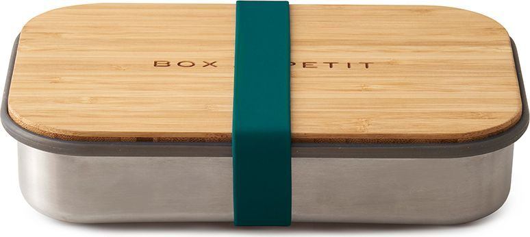 """Удобная коробка для сэндвичей Black+Blum """"Box Appetit"""" из нержавеющей стали, дополненная бамбуковой крышкой и силиконовой лентой бирюзового цвета.   Коробка Black+Blum """"Box Appetit"""" подходит для хранения как уже готовых сэндвичей, так и отдельных продуктов, входящих в их состав. Антибактериальные свойства бамбука позволяют использовать крышку коробки в качестве разделочной доски, на которой блюдо можно приготовить непосредственно перед подачей. Нержавеющая сталь, из которой выполнен корпус бокса, сохранит свой внешний вид даже в сложных условиях эксплуатации. А силиконовая лента-перетяжка герметично зафиксирует крышку на корпусе. Она легко моется и также очень долговечна.    Сэндвич-бокс Black+Blum """"Box Appetit"""" – удобное решение для тех, кто покупным предпочитает свежие сэндвичи из-под ножа. Самые оригинальные ингредиенты теперь можно взять с собой и приготовить изысканный деликатес в любом удобном месте: в офисе, школе, университете или прямо на траве во время пикника. Красивый и стильный он выделит своего обладателя из толпы и покажет его как человека, разбирающегося в хорошем дизайне. Основой же этих преимуществ станет высокое качество материалов, благодаря которому сэндвич-бокс прослужит долгие годы."""