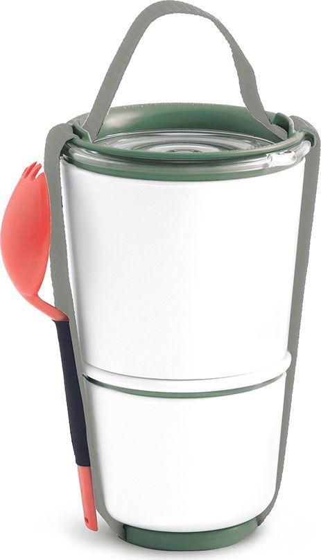 Ланч-бокс Black+Blum Lunch Pot, цвет: оливковый, 850 млBP010Универсальный ланч-бокс Black+Blum уже стал лидером продаж в Европе. Он состоит из двух контейнеров с надежной защитой от протечек. Вы сможете взять на работу сразу два блюда и не бояться, что все перемешается. В комплект входят текстильный ремешок и пластиковая вилка-ложка. Пустые контейнеры компактно складываются для удобной переноски. Можно использовать в микроволновой печи и мыть в посудомоечной машине. Объем: нижняя чаша 300 мл, верхняя чаша - 550 мл.