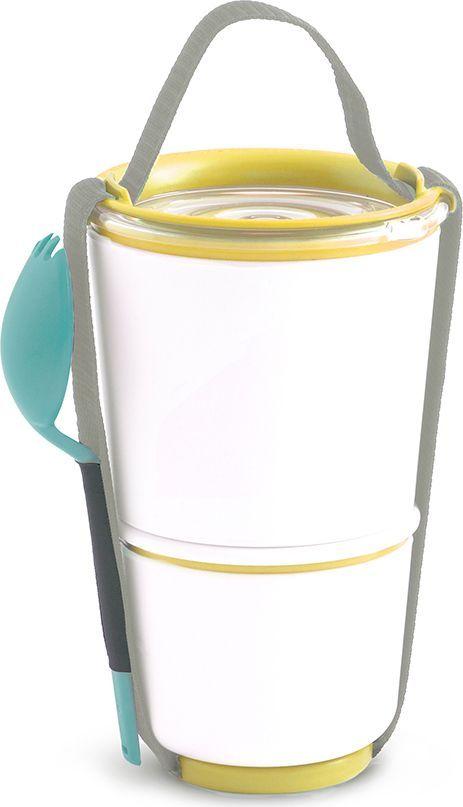 Ланч-бокс Black+Blum Lunch Pot, цвет: желтый, 850 млBP012Универсальный ланч-бокс Black+Blum уже стал лидером продаж в Европе. Он состоит из двух контейнеров с надежной защитой от протечек. Вы сможете взять на работу сразу два блюда и не бояться, что все перемешается. В комплект входят текстильный ремешок и пластиковая вилка-ложка. Пустые контейнеры компактно складываются для удобной переноски. Можно использовать в микроволновой печи и мыть в посудомоечной машине. Объем: нижняя чаша 300 мл, верхняя чаша - 550 мл.