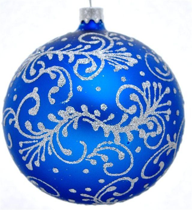 Украшение новогоднее подвесное Тычинковый Узор на синем, ручная работа, диаметр 8 смH-80-260331-S-Тычинковый Узор на синем матовом