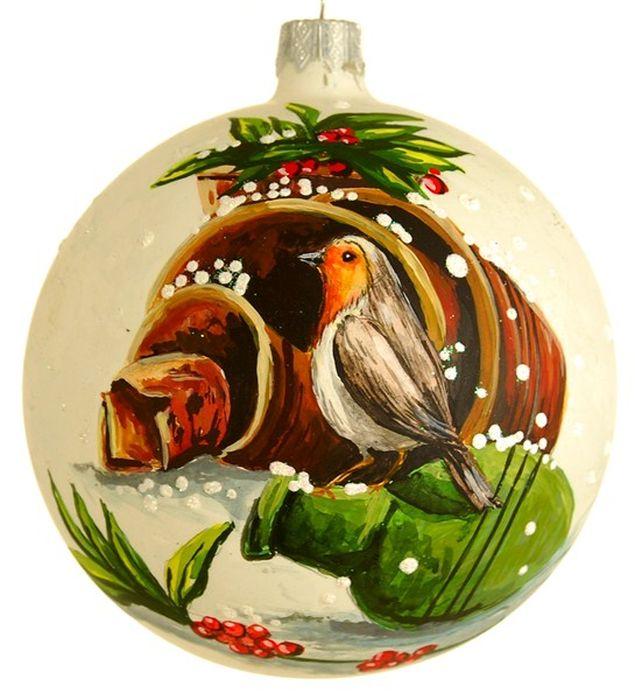 Украшение новогоднее подвесное Птицы, ручная работа, диаметр 10 смH-100-29362-N-Серия Птицы - у почтового ящика
