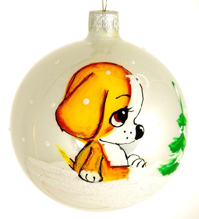 Украшение новогоднее подвесное Щенок и елка, ручная работа, диаметр 8 смH-80-31177-S-Щенок и елка
