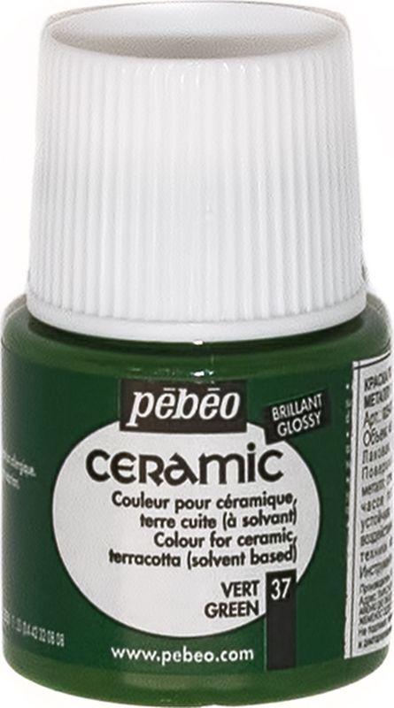 Pebeo Краска по керамике и металлу Ceramic цвет 37 зеленый 45 мл025-037Краски Ceramic на основе органического растворителя – сольвента.- Можно наносить на глиняные изделия, дерево и даже холст. - Имеют очень высокую светостойкость. - Краски смешиваются друг с другом.Для сохранения блеска краски необходимо предварительно нанести грунт для пористых поверхностей.Чтобы избежать потеков при нанесении краски на выпуклые поверхности не оставляйте много краски на кисти.Применение: краски Ceramic наносятся кистью, губкой, через трафарет, подходят для техники марморирования.Краски Ceramic можно сочетать с фактурными красками Fantasy Moon для создания эффекта мраморной поверхности.Высыхание: 2 часа поверхностное, 10 часов полное.Время высыхания может меняться в зависимости: от толщины нанесенного слоя, от температуры и влажности рабочего помещения.Разбавление-очистка: растворитель без запаха или уайт-спирит.