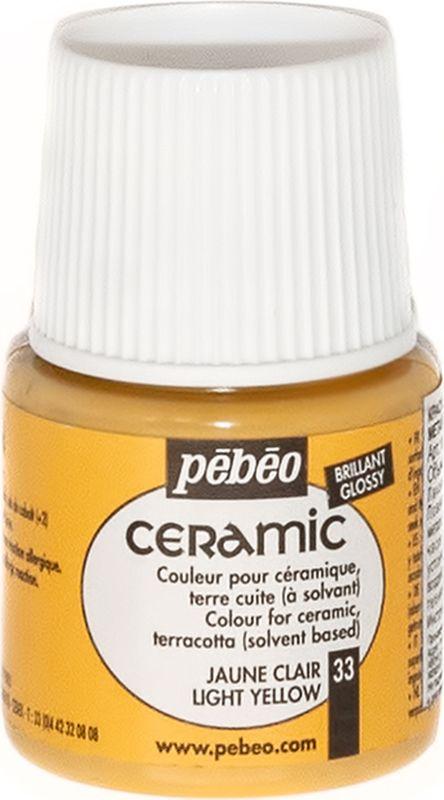Pebeo Краска по керамике и металлу Ceramic цвет 33 светло-желтый 45 мл025-033Краски Ceramic на основе органического растворителя – сольвента.- Можно наносить на глиняные изделия, дерево и даже холст. - Имеют очень высокую светостойкость. - Краски смешиваются друг с другом.Для сохранения блеска краски необходимо предварительно нанести грунт для пористых поверхностей.Чтобы избежать потеков при нанесении краски на выпуклые поверхности не оставляйте много краски на кисти.Применение: краски Ceramic наносятся кистью, губкой, через трафарет, подходят для техники марморирования.Краски Ceramic можно сочетать с фактурными красками Fantasy Moon для создания эффекта мраморной поверхности.Высыхание: 2 часа поверхностное, 10 часов полное.Время высыхания может меняться в зависимости: от толщины нанесенного слоя, от температуры и влажности рабочего помещения.Разбавление-очистка: растворитель без запаха или уайт-спирит. Уважаемые клиенты! Обращаем ваше внимание на то, что упаковка может иметь несколько видов дизайна. Поставка осуществляется в зависимости от наличия на складе.