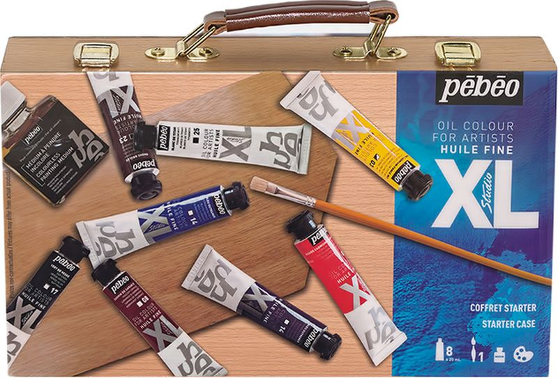 Pebeo Краска масляная Набор XL для начинающих в деревянном кейсе 8 цветов 920862 20 мл920862Состав: 8 туб по 20 мл, 1 живописный медиум - 75 мл, 1 кисть, 1 палитраКраска подходит для холста, грунтованного картона, дерева, ДВП или ДСП Используется для любых техник, для лессировок и для пастозной живописи Высыхание в течение 3-6 дней Покрытие лаком через 6-9 мес
