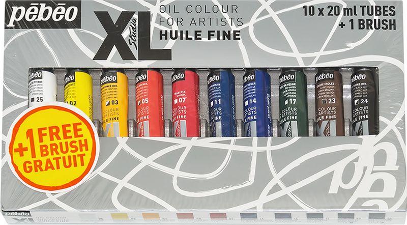 Pebeo Краска масляная набор XL с кистью 10 цветов 920111 20 мл920111Состав: 10 туб по 20мл, 1 кисть Краска подходит для холста, грунтованного картона, дерева, ДВП или ДСП Используется для любых техник, для лессировок и для пастозной живописи Высыхание в течение 3-6 дней Покрытие лаком через 6-9 мес