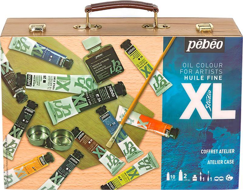 Pebeo Краска масляная Подарочный набор XL в деревянном кейсе 12 цветов 920662 20 мл920662Состав: 10 туб по 20мл, 2 тубы по 37мл [белый и черный], 1 живописный медиум 75 мл, 1 кисть, 1 мастихин, 1 двойная масленка, 1 палитра Краска подходит для холста, грунтованного картона, дерева, ДВП или ДСП Используется для любых техник, для лессировок и для пастозной живописи Высыхание в течение 3-6 дней Покрытие лаком через 6-9 мес