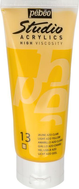 Pebeo Краска акриловая Studio Acrylics цвет 831-013 светло-желтый 100 мл831-013Акриловые краски Studio Acrylics высокой вязкости и густой консистенции Цвета живые и глубокие, богато пигментированные, имеют сатиновый блеск и очень хорошую светостойкость Обладают прекрасной адгезией, не смываются после высыхания Смешиваются друг с другом Образуют прочную и эластичную пленку Наносятся на холст, картон, дерево, металл и другие поверхности Сохнут от 30 минут до 1 часа, полное высыхание 1-8 дней в зависимости от толщины слоя Очистка инструментов: вода