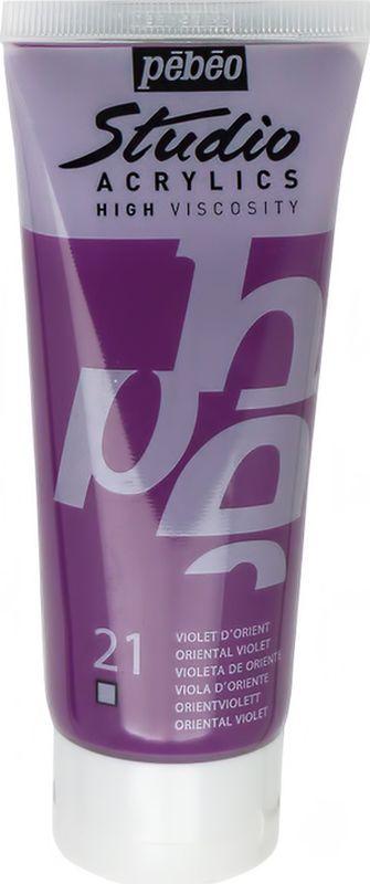 Pebeo Краска акриловая Studio Acrylics цвет 831-021 фиолетовый восточный 100 мл831-021Акриловые краски Studio Acrylics высокой вязкости и густой консистенции Цвета живые и глубокие, богато пигментированные, имеют сатиновый блеск и очень хорошую светостойкость Обладают прекрасной адгезией, не смываются после высыхания Смешиваются друг с другом Образуют прочную и эластичную пленку Наносятся на холст, картон, дерево, металл и другие поверхности Сохнут от 30 минут до 1 часа, полное высыхание 1-8 дней в зависимости от толщины слоя Очистка инструментов: вода
