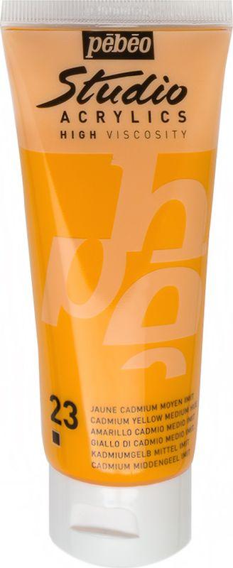 Pebeo Краска акриловая Studio Acrylics цвет 831-023 кадмий желтый 100 мл831-023Акриловые краски Studio Acrylics высокой вязкости и густой консистенции Цвета живые и глубокие, богато пигментированные, имеют сатиновый блеск и очень хорошую светостойкость Обладают прекрасной адгезией, не смываются после высыхания Смешиваются друг с другом Образуют прочную и эластичную пленку Наносятся на холст, картон, дерево, металл и другие поверхности Сохнут от 30 минут до 1 часа, полное высыхание 1-8 дней в зависимости от толщины слоя Очистка инструментов: вода