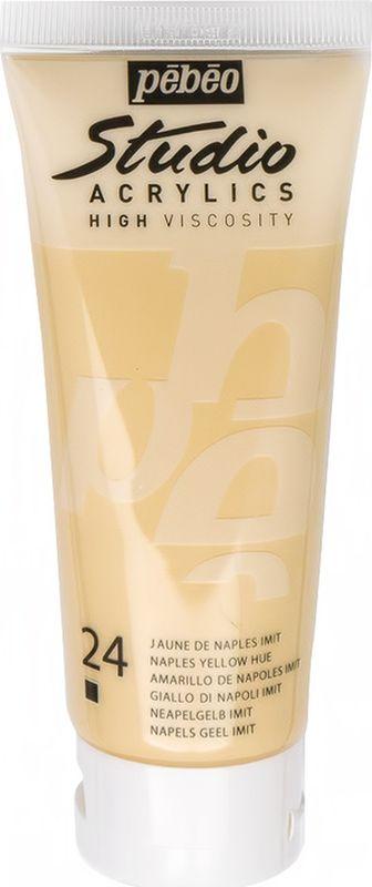Pebeo Краска акриловая Studio Acrylics цвет 831-024 неаполитанский желтый 100 мл831-024Акриловые краски Studio Acrylics высокой вязкости и густой консистенции Цвета живые и глубокие, богато пигментированные, имеют сатиновый блеск и очень хорошую светостойкость Обладают прекрасной адгезией, не смываются после высыхания Смешиваются друг с другом Образуют прочную и эластичную пленку Наносятся на холст, картон, дерево, металл и другие поверхности Сохнут от 30 минут до 1 часа, полное высыхание 1-8 дней в зависимости от толщины слоя Очистка инструментов: вода