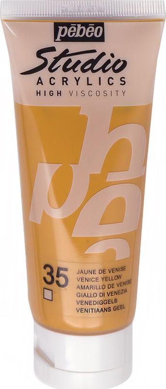 Pebeo Краска акриловая Studio Acrylics цвет 831-035 венецианский желтый 100 мл831-035Акриловые краски Studio Acrylics высокой вязкости и густой консистенции Цвета живые и глубокие, богато пигментированные, имеют сатиновый блеск и очень хорошую светостойкость Обладают прекрасной адгезией, не смываются после высыхания Смешиваются друг с другом Образуют прочную и эластичную пленку Наносятся на холст, картон, дерево, металл и другие поверхности Сохнут от 30 минут до 1 часа, полное высыхание 1-8 дней в зависимости от толщины слоя Очистка инструментов: вода