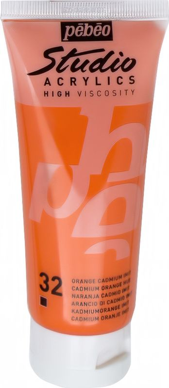 Pebeo Краска акриловая Studio Acrylics цвет 831-032 кадмий оранжевый 100 мл831-032Акриловые краски Studio Acrylics высокой вязкости и густой консистенции Цвета живые и глубокие, богато пигментированные, имеют сатиновый блеск и очень хорошую светостойкость Обладают прекрасной адгезией, не смываются после высыхания Смешиваются друг с другом Образуют прочную и эластичную пленку Наносятся на холст, картон, дерево, металл и другие поверхности Сохнут от 30 минут до 1 часа, полное высыхание 1-8 дней в зависимости от толщины слоя Очистка инструментов: вода