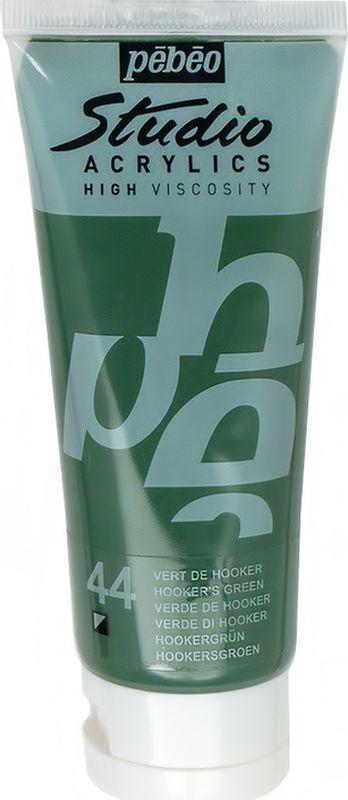 Pebeo Краска акриловая Studio Acrylics цвет 831-044 зеленый Хукера 100 мл831-044Акриловые краски Studio Acrylics высокой вязкости и густой консистенции Цвета живые и глубокие, богато пигментированные, имеют сатиновый блеск и очень хорошую светостойкость Обладают прекрасной адгезией, не смываются после высыхания Смешиваются друг с другом Образуют прочную и эластичную пленку Наносятся на холст, картон, дерево, металл и другие поверхности Сохнут от 30 минут до 1 часа, полное высыхание 1-8 дней в зависимости от толщины слоя Очистка инструментов: вода