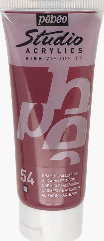 Pebeo Краска акриловая Studio Acrylics цвет 831-054 ализарин малиновый 100 мл831-054Акриловые краски Studio Acrylics высокой вязкости и густой консистенции Цвета живые и глубокие, богато пигментированные, имеют сатиновый блеск и очень хорошую светостойкость Обладают прекрасной адгезией, не смываются после высыхания Смешиваются друг с другом Образуют прочную и эластичную пленку Наносятся на холст, картон, дерево, металл и другие поверхности Сохнут от 30 минут до 1 часа, полное высыхание 1-8 дней в зависимости от толщины слоя Очистка инструментов: вода